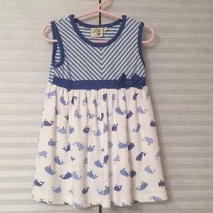 Luigi Toddler Blue/White striped Whale Dress
